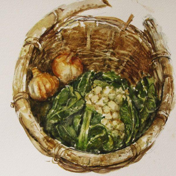 George Gilbert Artist Old Basket watercolour