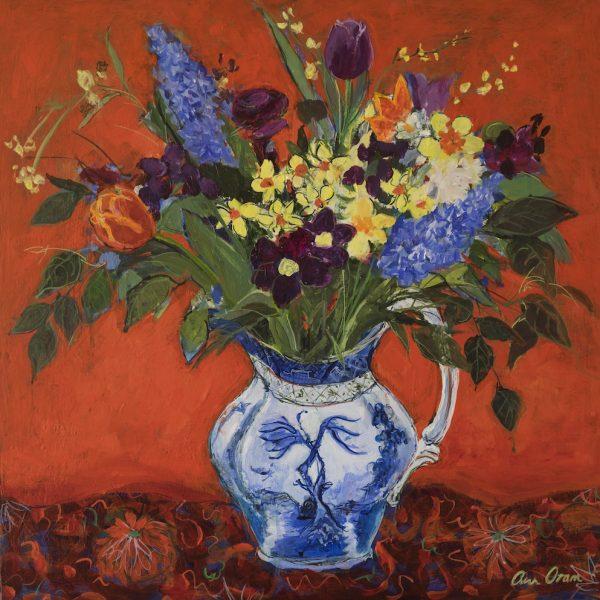 Ann Oram - Summer Flowers on Red