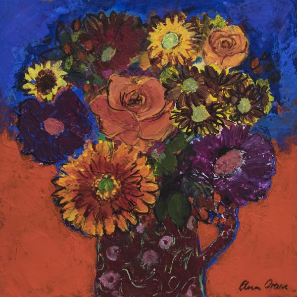 Ann Oram - Summer Flowers on Red and Blue