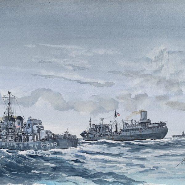 Fletcher Class Destroyer USS Nicholas Painting Jim Rae
