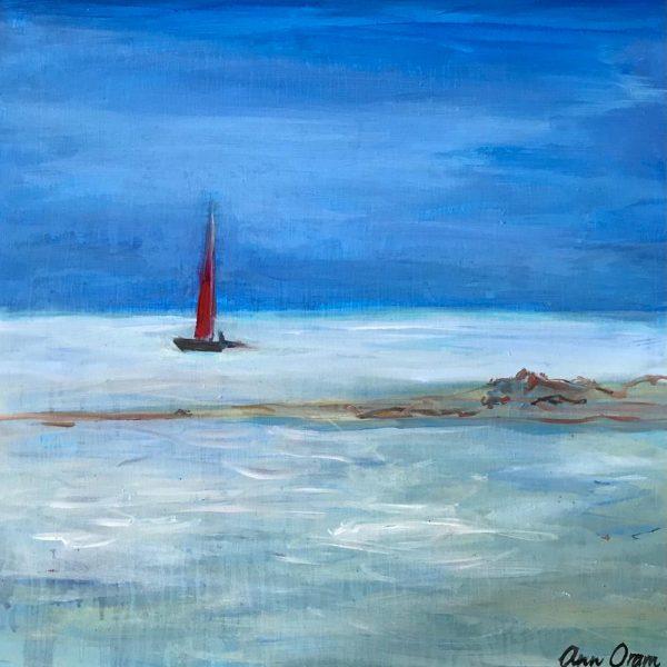Ann Oram - Red Sail off Alnmouth